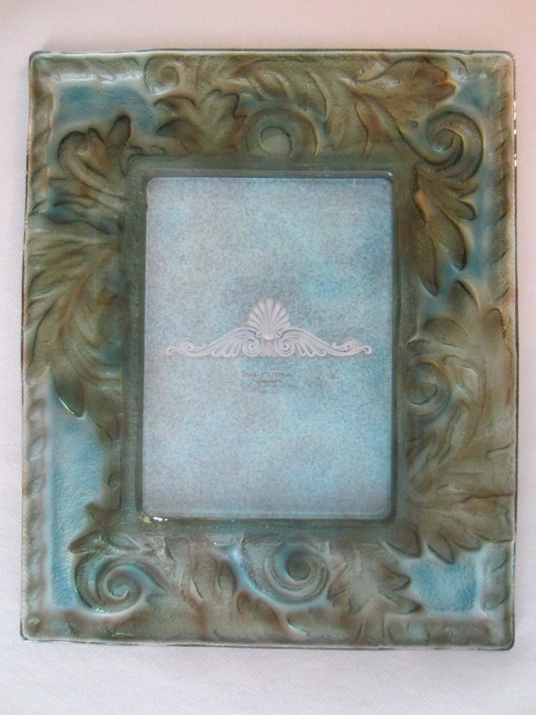 Contemporary Glass Blue Green Picture Frame - Designer Unique Finds