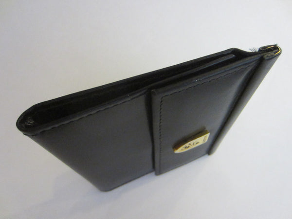 Adolfo Card Case Two Fold Snap Button Shield Mark - Designer Unique Finds