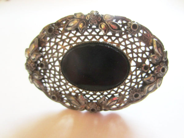 Art Deco Black Onyx Center Cabochon Brooch Openwork Floral Filigree - Designer Unique Finds
