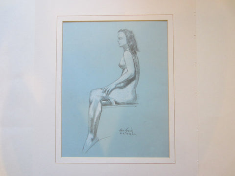 George Gach Impressionist Drawing Guache Signed Portrait of A Seated Women Dated - Designer Unique Finds