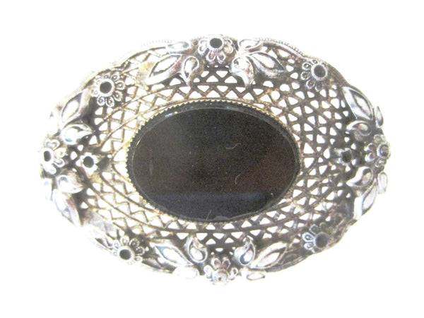 Art Deco Black Onyx Center Cabochon Brooch Openwork Floral Filigree