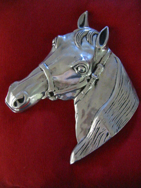 Pewter Equestrian Horse Head Wall Decor - Designer Unique Finds