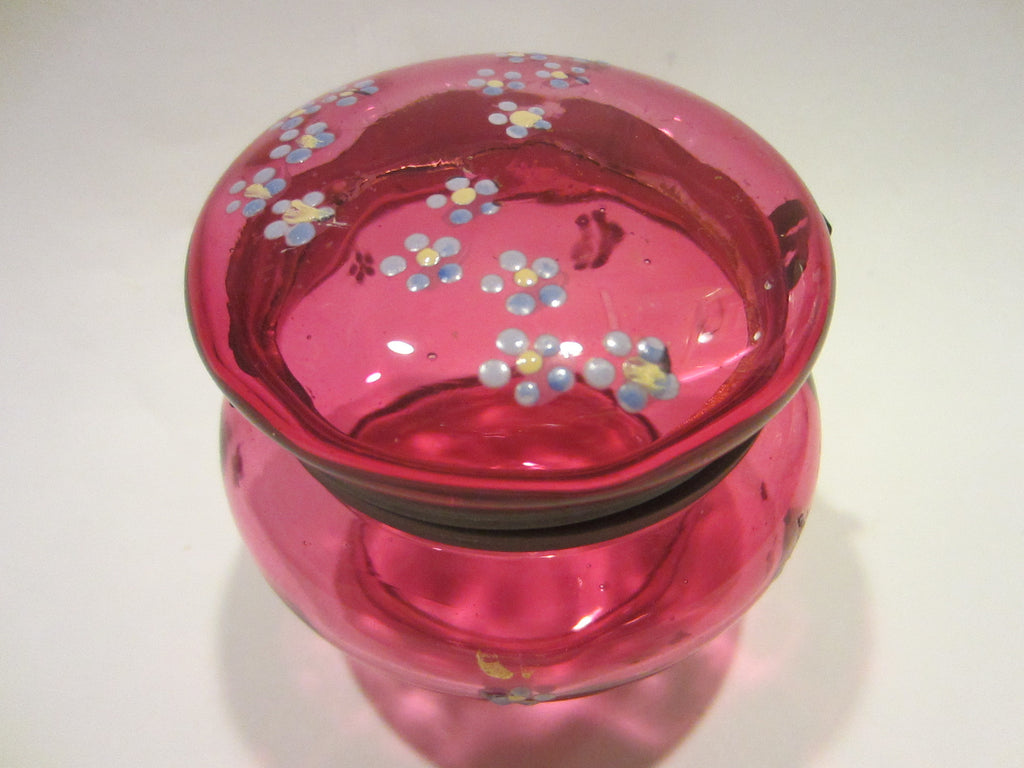 Moser Style Cranberry Glass Box Hand Decorated Floral Enameling - Designer Unique Finds   - 1