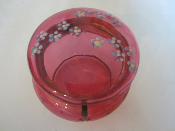 Moser Style Cranberry Glass Box Hand Decorated Floral Enameling - Designer Unique Finds   - 3