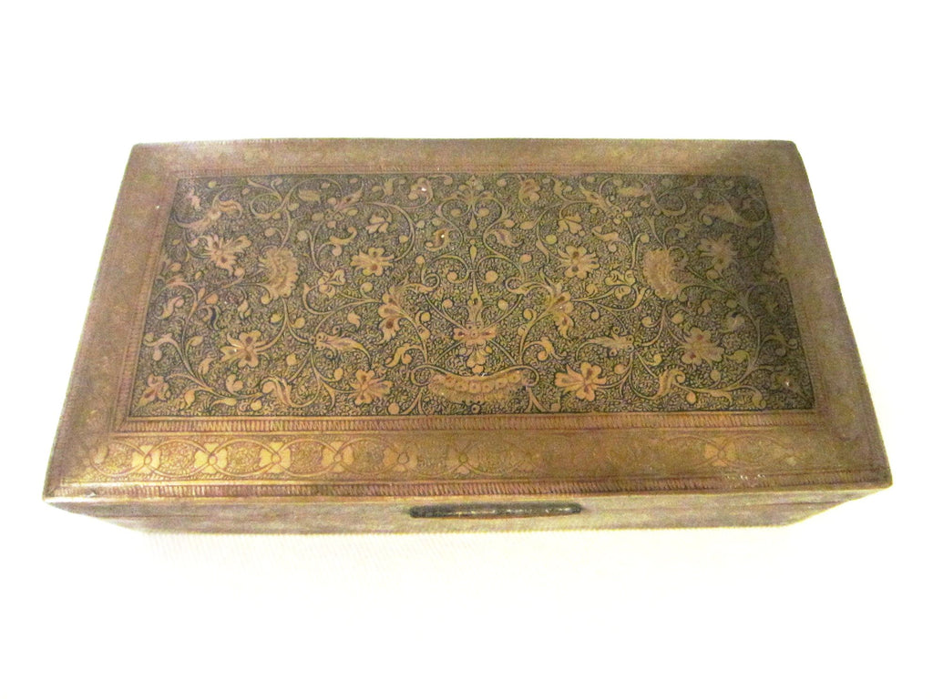 Folk Art Brass Humidor Cigar Box Hand Colored Etched Flowers - Designer Unique Finds   - 1