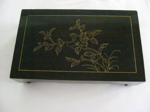 Chinese Black Chinoiserie Lacquered Accent Stool Table Gold Flowers - Designer Unique Finds   - 1