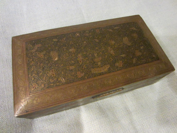 Folk Art Brass Humidor Cigar Box Hand Colored Etched Flowers - Designer Unique Finds   - 2