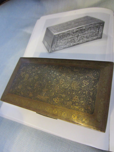 Folk Art Brass Humidor Cigar Box Hand Colored Etched Flowers - Designer Unique Finds   - 4