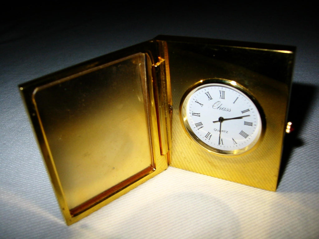 Chass Brass Folding Desk Clock Picture Frame Japan Movement - Designer Unique Finds   - 1
