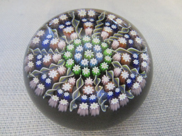 Pertshire Millefiori Glass Paperweight Signed Crieff Scotland - Designer Unique Finds
