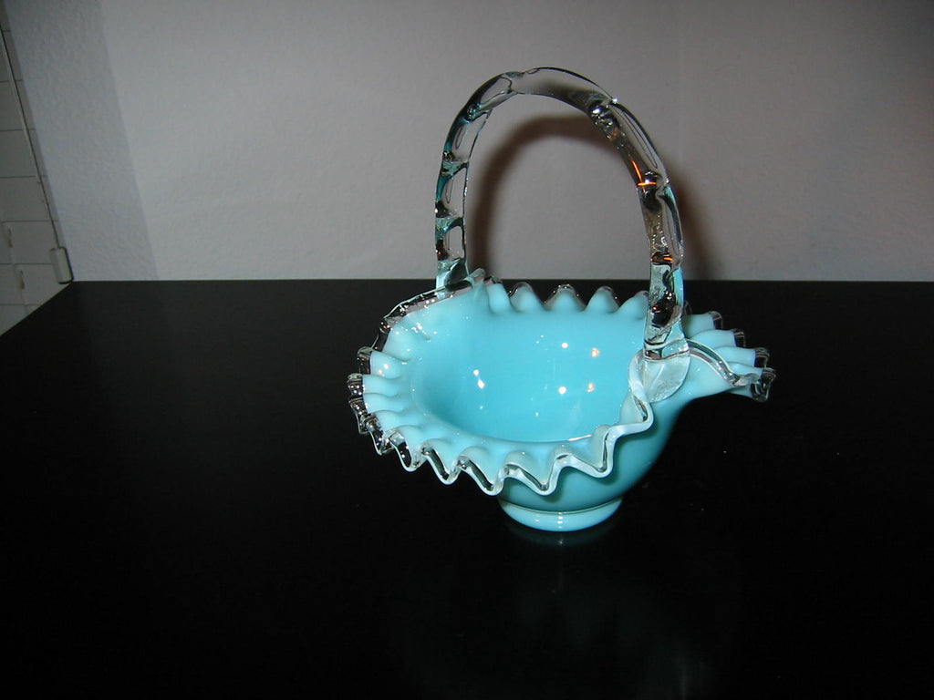 Fenton Glass Turquoise Blue Basket Silver Sheen Ruffled Edge Decorated Clear Handle - Designer Unique Finds   - 1