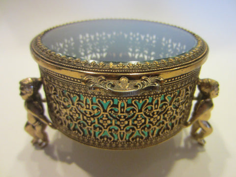 Brass Jewelry Box Lined Blue Velvet Beveled Glass On Puttis - Designer Unique Finds