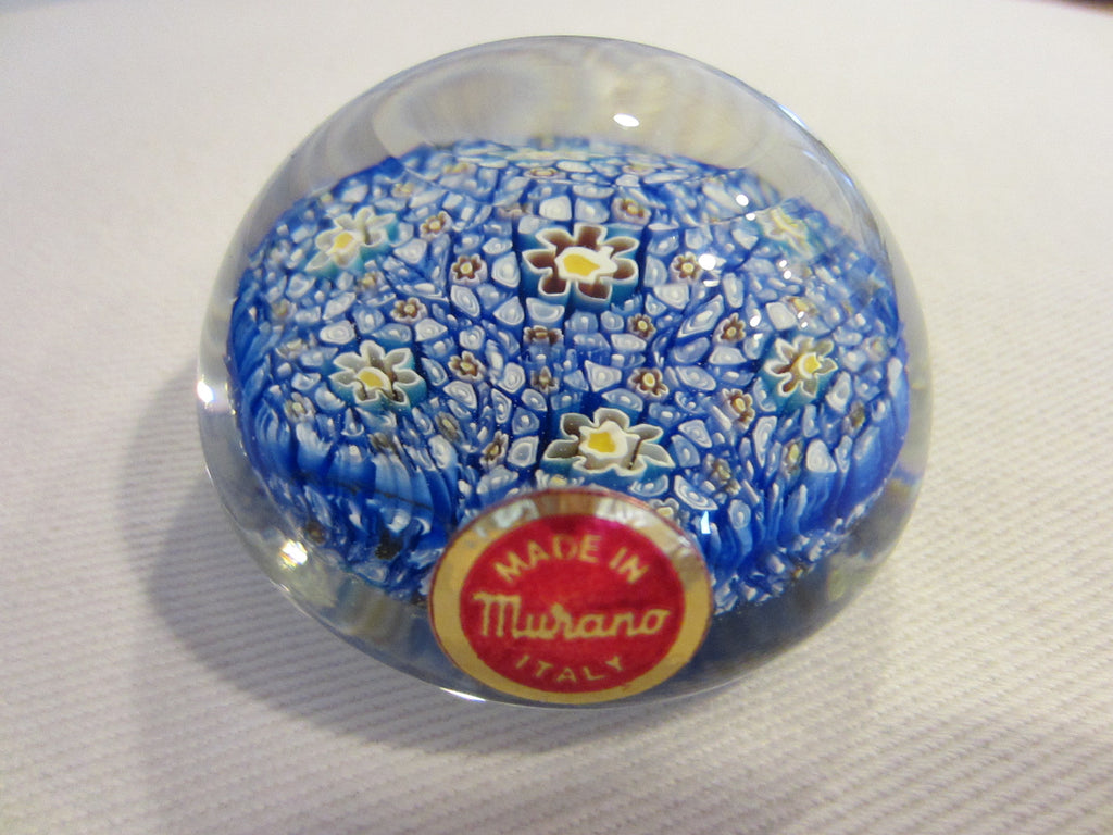 Murano Glass Paperweight Millefiori Blue Flowers - Designer Unique Finds
