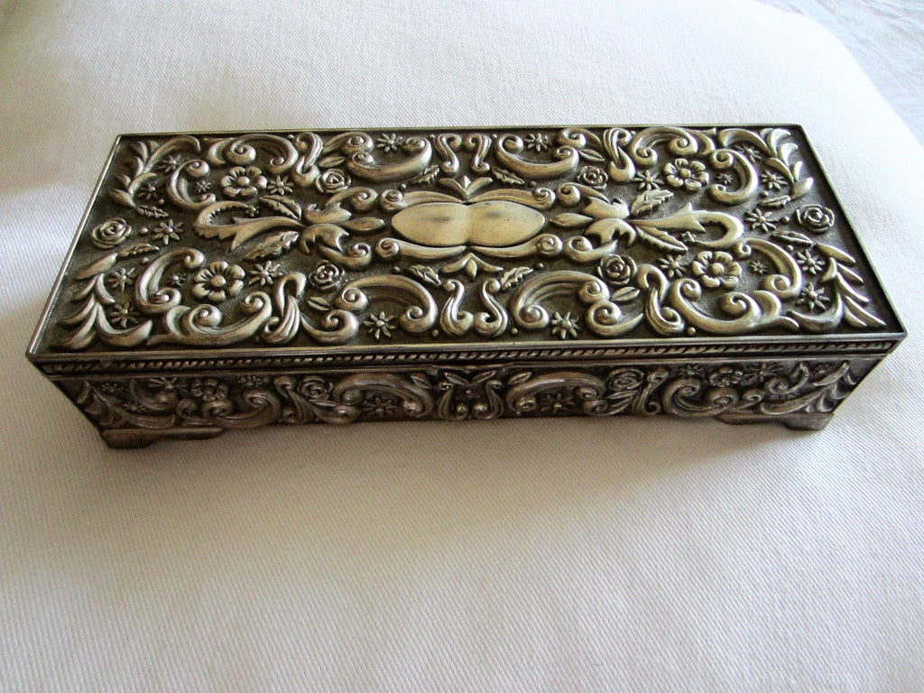 Godinger Silver Mirrored Rectangle Jewelry Box Floral Design Marked Designer Unique Finds