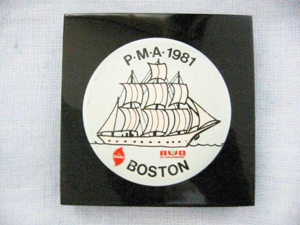 Button Encased Black Lucite Nautical Dole Bud Boston Paperweight - Designer Unique Finds   - 1