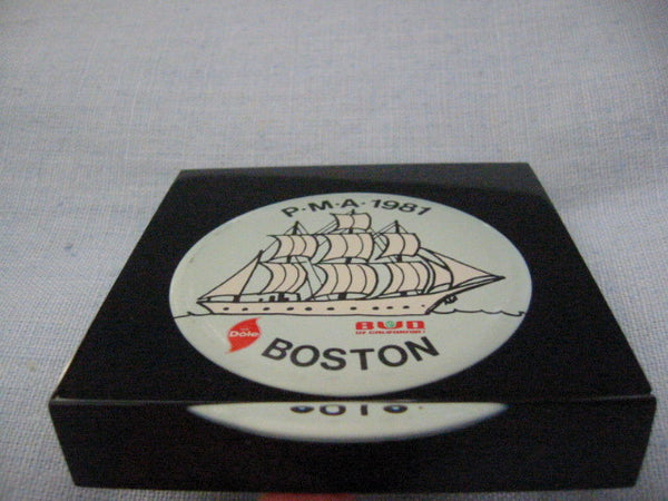 Button Encased Black Lucite Nautical Dole Bud Boston Paperweight - Designer Unique Finds   - 5