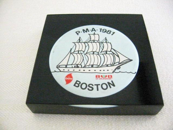 Advertising Acrylic Paperweight Encased Nautical Dole Bud Boston Button - Designer Unique Finds
