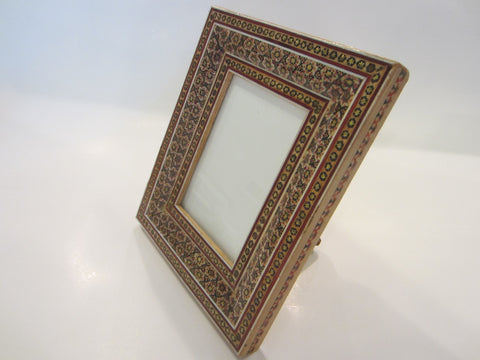 A Folk Art Persian Khatam Picture Frame Geometric Design