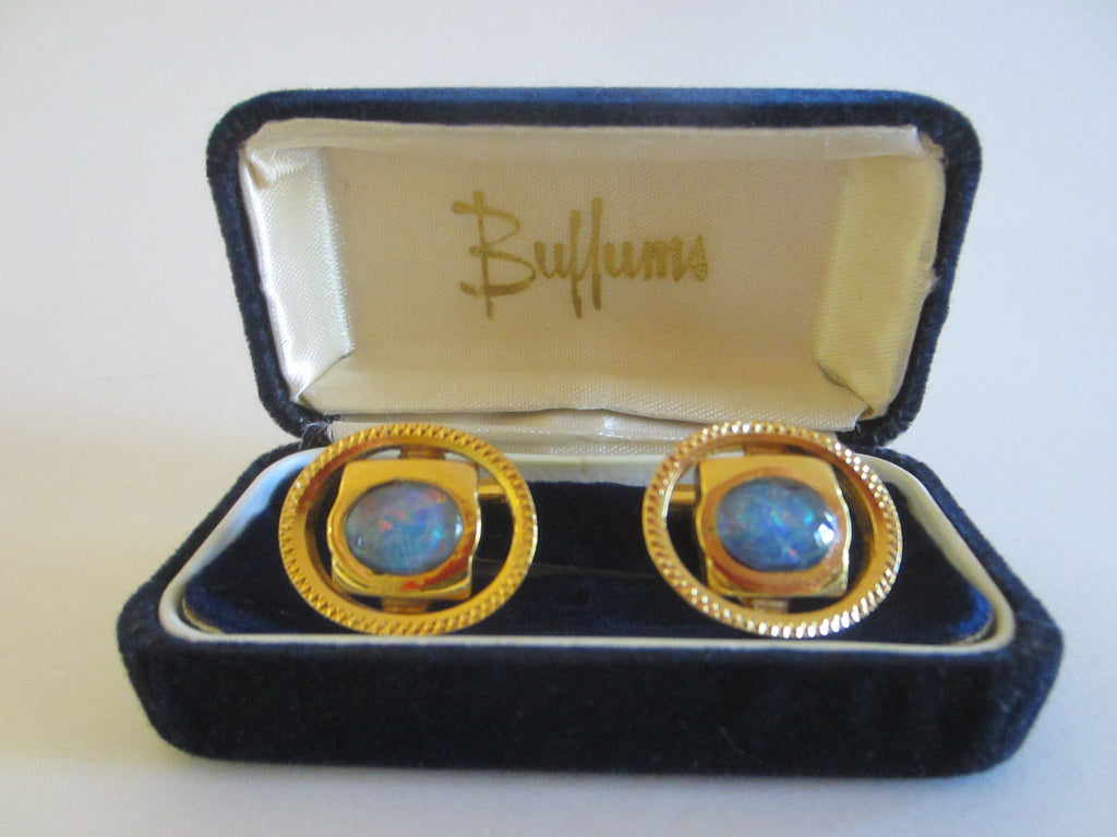 Opal Cuff Links Gold Plated Mid Century Modern Oval Design - Designer Unique Finds