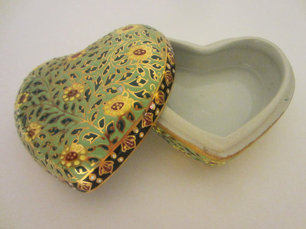 Gold Porcelain Heart Jewelry Box Narai Phand Hand Painted In Thailand Floral Enameling - Designer Unique Finds   - 1