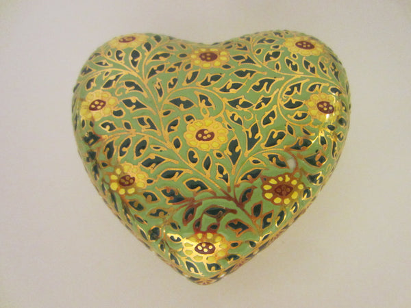 Narai Phand Thailand Porcelain Heart Jewelry Box Git Decorated Marked - Designer Unique Finds