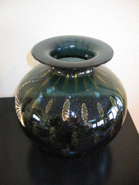 Murano Flower Vase Italian Green Archimedes Seguso Paisley Gold - Designer Unique Finds   - 2