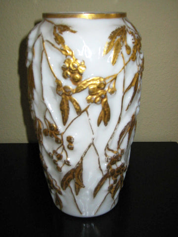 Phoenix Milk Glass Vase Painted Gold Berries - Designer Unique Finds   - 1