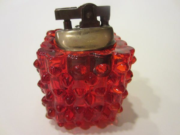 Authentic Fenton Handmade Hubnail Ruby Glass Japan Brass Lighter
