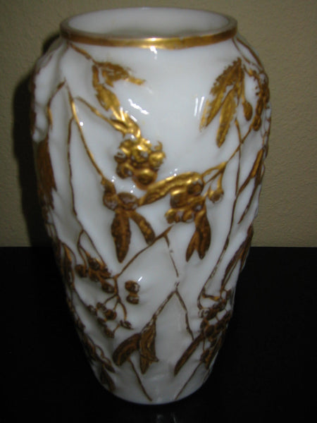 Phoenix Milk Glass Vase Painted Gold Berries - Designer Unique Finds   - 4