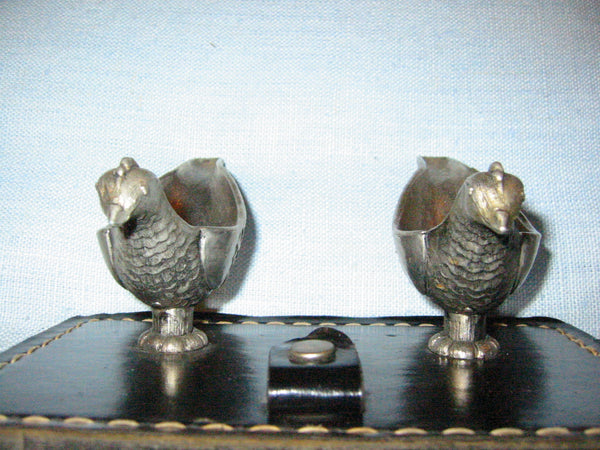 Pewter Birds Pen Holders Black Leather Ink Stands - Designer Unique Finds