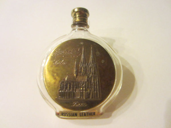 Johann Maria Farnival Perfume Bottle Bronze Red Cap Russian Leather Germany - Designer Unique Finds