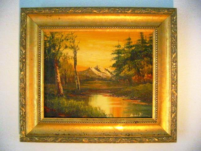Mountain View Sunset Signed Oil On Panel - Designer Unique Finds