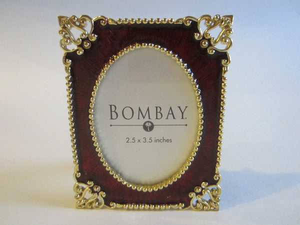 Bombay Ormolu Brass Burgundy Enamel Picture Frame - Designer Unique Finds
