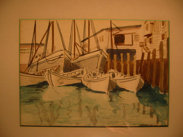 Woodburn Maritime Watercolor Seascape Newport Signed Winning Boat - Designer Unique Finds   - 2
