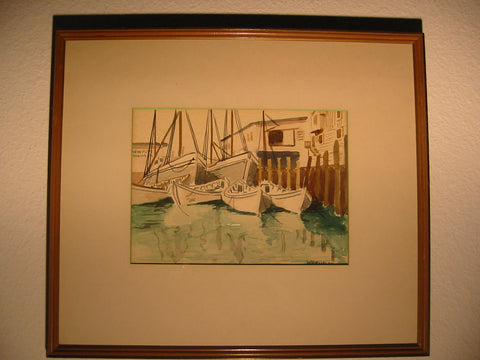 Woodburn Maritime Watercolor Seascape Newport Signed Winning Boat - Designer Unique Finds