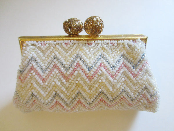 Hand Beaded French Coin Purse Filigree Ball Closure - Designer Unique Finds