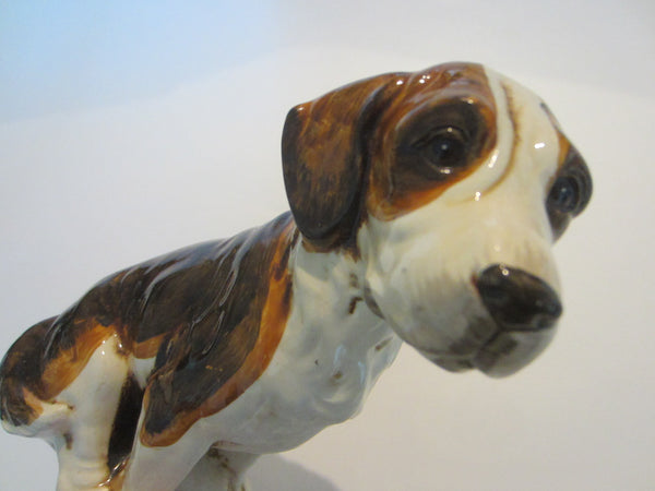 Folk Art Ceramic Seated Springer Spaniel Hand Painted Glazed Statue