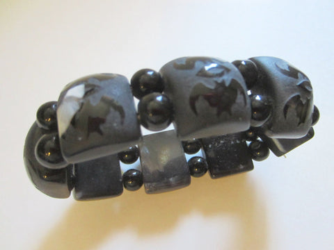 Black Onyx Bracelet Carving Bats Flexible Primitive Beads - Designer Unique Finds