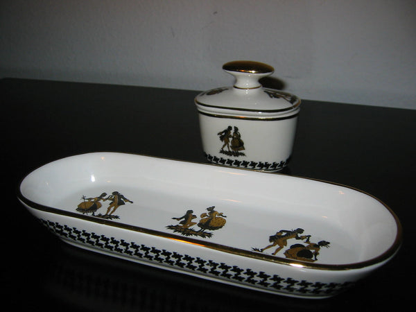 Bavaria Germany Black Gold Dancers Porcelain Oblong Tray Inkwell - Designer Unique Finds   - 1