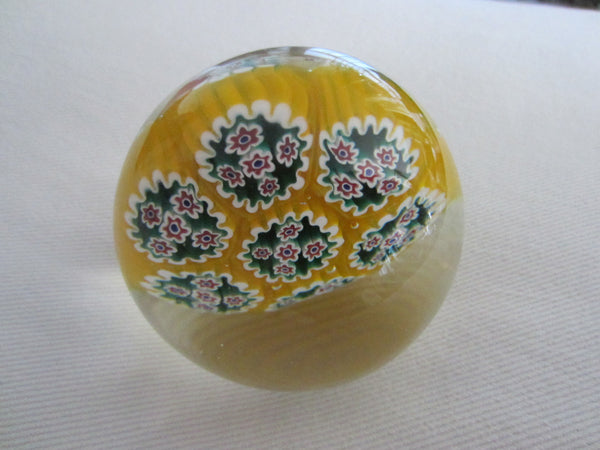 Millefiori Murano Italy Glass Paperweight Yellow Bed Blue Flowers - Designer Unique Finds