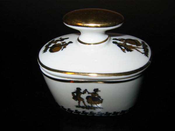 Bavaria Germany Black Gold Dancers Porcelain Oblong Tray Inkwell - Designer Unique Finds   - 2