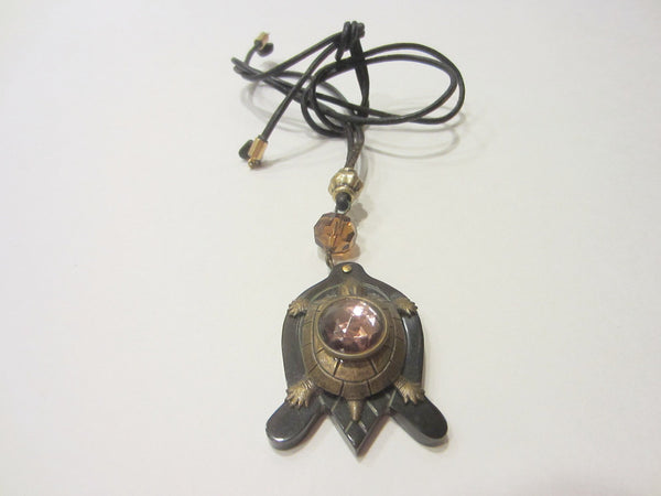 Brass Lacquer Turtle Pendant Deco Crystal Pink Cabochon - Designer Unique Finds