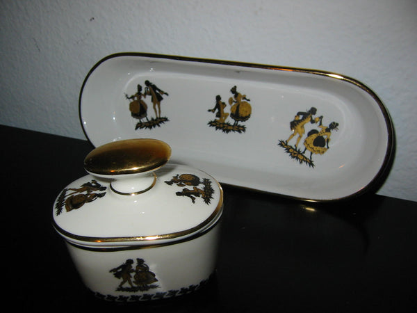 Bavaria Germany Black Gold Dancers Porcelain Oblong Tray Inkwell - Designer Unique Finds   - 3