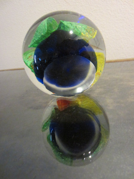 Orchid Murano Glass Bubble Paperweight Color Rainbow Cobalt Bed - Designer Unique Finds