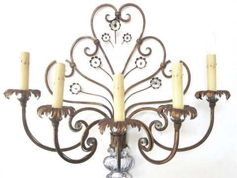 Italian Tole Wall Sconce Glass Vase Bloom Flower Medallions Scrolled Five Lights Branches - Designer Unique Finds