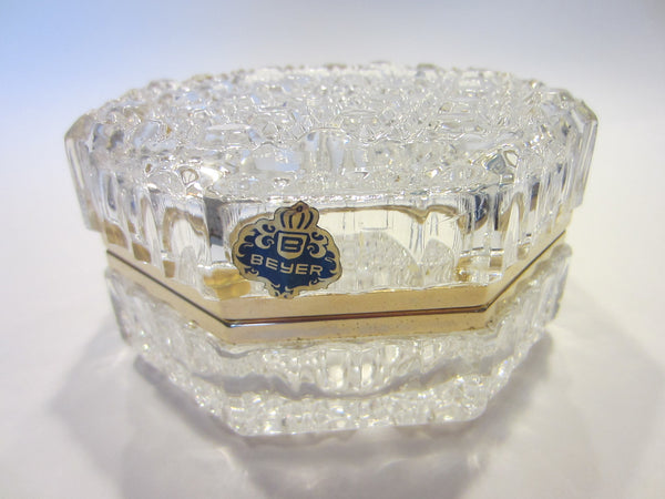 Beyer Crystal Box Geometric Hinged Brass Hardware Labeled - Designer Unique Finds