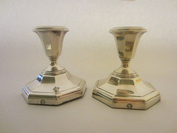 England Ellis Barker Silver Candle Holders With Hallmarks In Pair - Designer Unique Finds   - 2