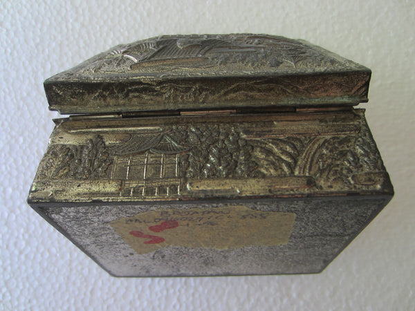 Silver Metal Souvenir Of Spokane Washington Made in Japan Scenic Humidor Box Marked - Designer Unique Finds