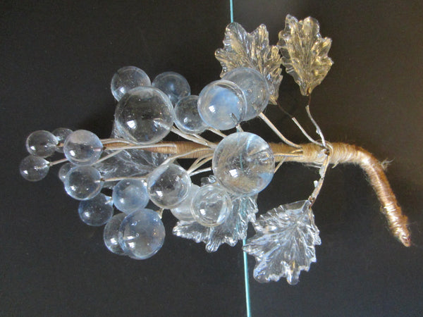 Folk Art Cluster Glass Grapes In Pair Hand Crafted Clear Leaves - Designer Unique Finds   - 3