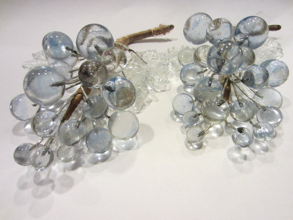 Folk Art Cluster Glass Grapes In Pair Hand Crafted Clear Leaves - Designer Unique Finds   - 1